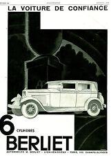 Publicité Ancienne  Voiture Berliet 6 Cylindres  1929