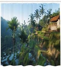 Ethnic Balinese Pattern Shower Curtain Fabric Decor Set with Hooks 4 Sizes