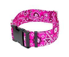 """Pink Paisley Bandana Dog Collar - 5/8"""" - 2"""" Widths - Caninus Collars"""