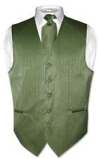 Men's Dress Vest & NeckTie OLIVE GREEN Color Vertical Striped Design Set
