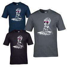 DJ Baby Groot T-Shirt - Headphones Music Guardians Party Disco yoda Mixing Decks