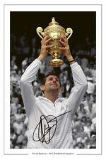 Novak Djokovic firmato 2011 Wimbledon CHAMPION TENNIS Autograph stampa