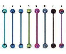 un piercing industriel diamètre 1.6 mm longueur 3,5 cm 8 couleurs disponibles