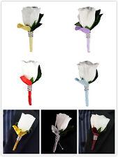 Boutonniere - White Rosebud *Pick Ribbon/Stem and Petal Color*