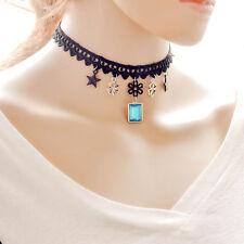 Girocollo in Pizzo con le stelle Trifogli Blu Diamante Pietra Fascino Collana Strato Nero
