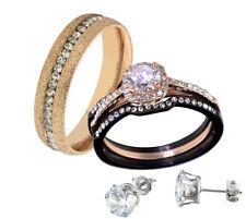 His & Hers Stainless Steel Princess CZ Wedding Ring Set Steel + Stud Earrings
