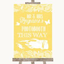 Amarillo Arpillera & Lace Photobooth de esta manera izquierda Personalizado De Boda Letrero