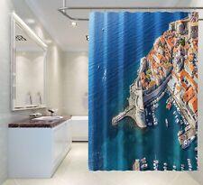 3D Seaside Town 12 Shower Curtain Waterproof Fiber Bathroom Home Windows Toilet