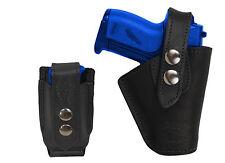 Barsony OWB Black Leather Belt Holster w/Mag Pouch Jennings Raven Mini 22 25 380
