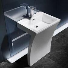 Modern Design Number 7 Shaped Pedestal Wash Basin Bowl Unit Hand Cast Stone