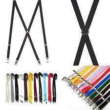 Mens Womens Elastic Suspenders Adjustable X-Back Clip-on Braces belts 11Colors