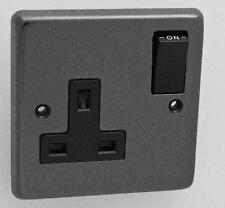Eurolite Black Nickel 13Amp Single Plug Socket