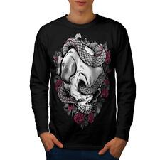 Serpent Rose Cool crâne Hommes T-shirt à manches longues Nouveau   wellcoda