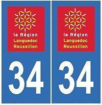 stickers autocollants plaques immatriculation auto Département Hérault 34