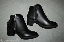"""Womens BLACK ANKLE BOOTS 2"""" High Heels ZIPPER EACH SIDE Tassels SIZE 6 7 8 9 10"""