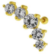 Dazzling Five CZ Stone Cartilage Helix Tragus Ear Stud Piercing Jewellery