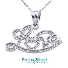 """Love"" Script Sterling Silver Diamond Pendant Necklace"