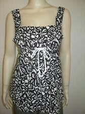 FEI Anthropologie Black White Sleeveless Print Empire Tie Top Shirt Size 10 M