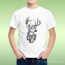 T-Shirt Bambino Ragazzo Cervo Immagine Testa Deer Animal Idea Regalo