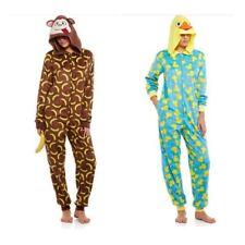 NEW Womens Microfleece One-Piece Pajamas Union Suit Onesie Critter Hood S M L XL
