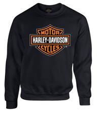 Harley-Davidson Mens Bar & Shield Long Sleeve Crew Neck Fleece Sweatshirt, Black