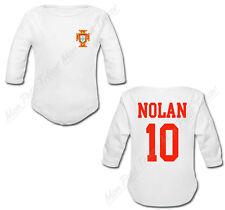 Body Bébé Football Maillot Portugal personnalisé avec prénom et numéro au dos