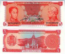 VENEZUELA billet neuf 5 bolivares Pick70b SIMON BOLIVAR FRANSICO DE MIRANDA 1989