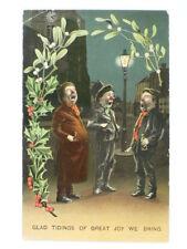 1911 Beer Drunks on a Street Corner Christmans Postcard
