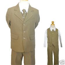 Boy Wedding Recital Graduation Formal Party Khaki Tuxedo Suit 0 4 12 14 16  20