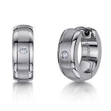 Titanio Diamante Mate Y Pulido Articulado Pendientes De Aro