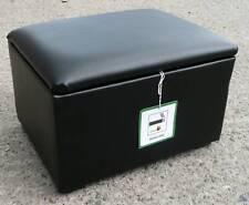 BLACK FAUX LEATHER STORAGE BOX/ POUFFES/ FOOTSTOOLS