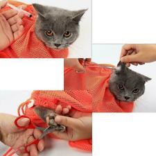 No Biting Scratching Restraint Nail Grooming Trimming Kitten Bath Bag Mesh Z1Z8