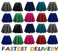 Ladies skirts womens belted flared plain mini skater skirt girl all sizes*PNT