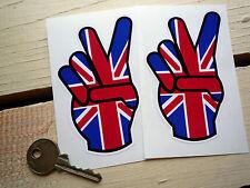 """Union Jack 2 Fingers Bike or Car Stickers 4"""" Pair BSA Triumph Norton Peace Hippy"""