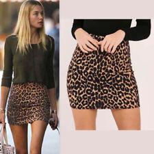 Womens Sexy Leopard Print High Waist Mini Skirts Party Wear Bodycon Pencil Skirt