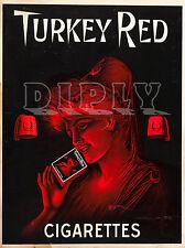 REPRO DECO AFFICHE TURKEY RED CIGARETTES TABAC SUR PANNEAU MURAL BOIS HDF
