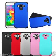 For Samsung Galaxy Grand Prime G530 Dual Layer Fusion Slim Case Hybrid Cover