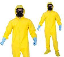 Bad Chemist Hazmat Costume Yellow Boiler Suit Mask Gloves Mens Fancy Dress