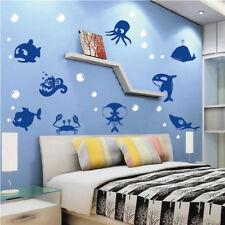 Sea Creatures Wall Decal Crab Bubbles Wallpaper Ocean Fish Removable Vinyl, g36