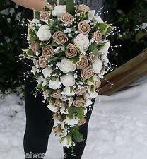 Wedding Shower Bouquet Rose & Pearl 24 inches Bride Posy Posie Teardrop