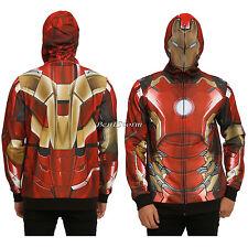 MARVEL IRON MAN STARK Hoodie Hoody Mesh Face Zip Costume Hood Sweatshirt L NWT