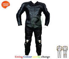 Noir Combinaison de moto cuir noir complet COURSE CUIR COSTUME EN CUIR VACHETTE