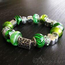 Mom Loves Green European Charm Bracelet - Mom, Mothers Day Jewelry Gift Idea