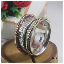 Floral Braided Wide Sterling Silver, Gold, Rose Fidget Spinner Meditation Ring