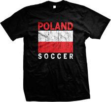 Distressed Poland Soccer Country Flag - Polish Pride  Mens T-shirt