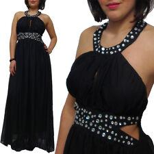 Abito donna lungo strass nero vestito sera vestitino party abiti sexy red carpet
