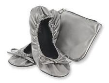 Sidekicks Gunmetal Gray Silver Fold Up Ballet Flats Shoe w Purse Sturdy Sole