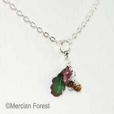 Acorn and Oak Leaf Autumn Necklace - Handmade Polymer Clay Pendant Jewellery