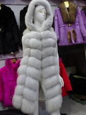 Off-season sales Real Farm Fox fur Vest Waistcoat Gilet Jacket Coats Hooded*90cm