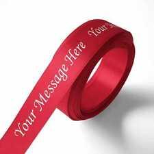 25mm Personalised Printed Ribbon  - Scarlet Red - Satin - Gift Wrap